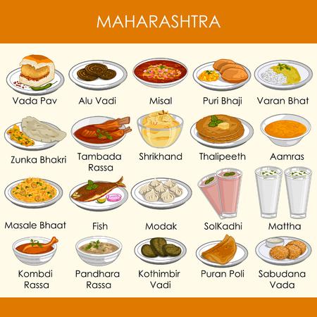 illustrazione del delizioso cibo tradizionale del Maharashtra India