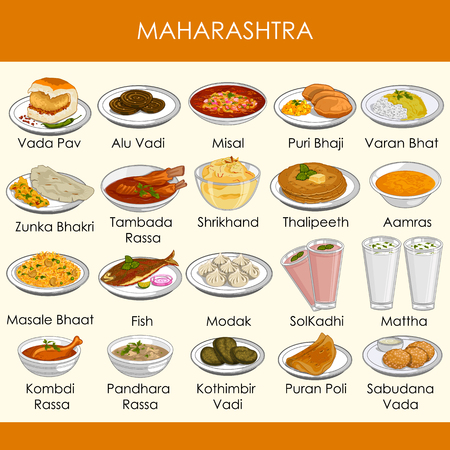 illustration of delicious traditional food of Maharashtra India