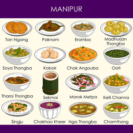 easy to edit vector illustration of delicious traditional food of Manipur India Vetores