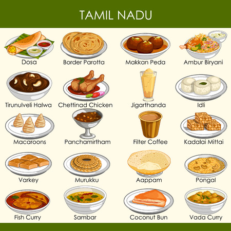 easy to edit vector illustration of delicious traditional food of Tamil Nadu India