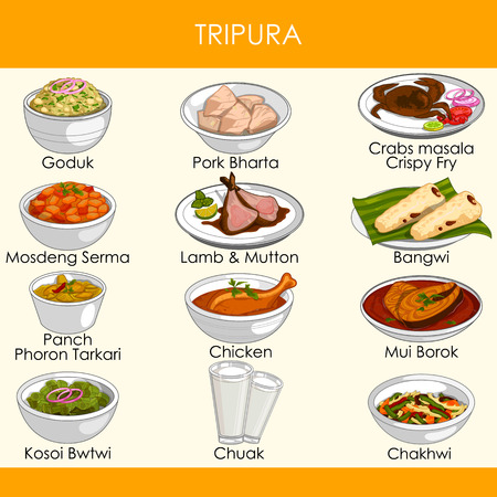 illustration of delicious traditional food of Tripura India Ilustração