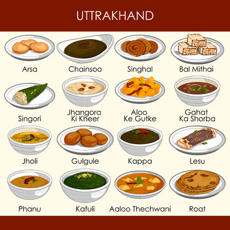 illustration of delicious traditional food of Uttarakhand India