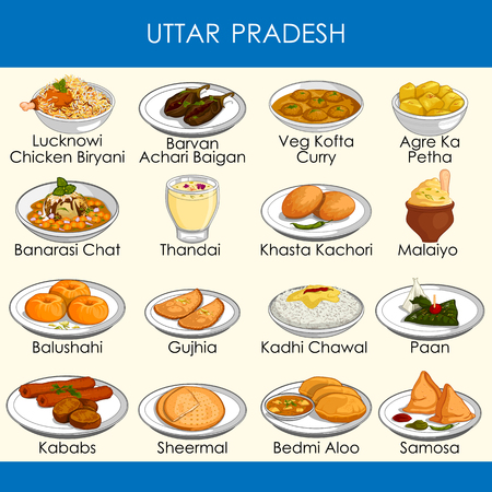 easy to edit vector illustration of delicious traditional food of Uttar Pradesh India