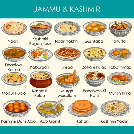 einfach zu bearbeitende Vektorgrafik von köstlichen traditionellen Speisen von Jammu und Kaschmir Indien Vektorgrafik