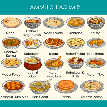 facile da modificare illustrazione vettoriale di delizioso cibo tradizionale del Jammu e Kashmir India Vettoriali