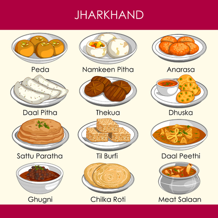 easy to edit vector illustration of delicious traditional food of Jharkhand India Stock Vector - 125730730
