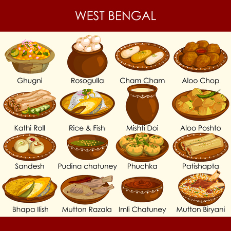 illustration of delicious traditional food of West Bengal India Vetores