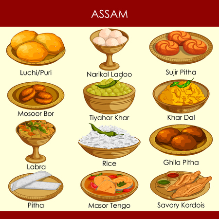 facile da modificare illustrazione vettoriale del delizioso cibo tradizionale dell'Assam India