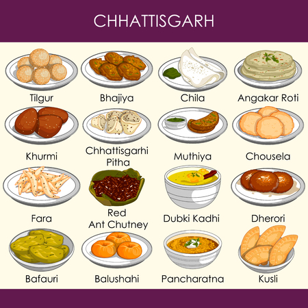 easy to edit vector illustration of delicious traditional food of Chhattisgarh India Illustration