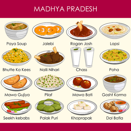 easy to edit vector illustration of delicious traditional food of Madhya Pradesh India