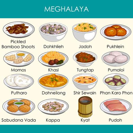 illustrazione del delizioso cibo tradizionale di Meghalaya India