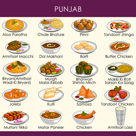 easy to edit vector illustration of delicious traditional food of Punjab India 일러스트