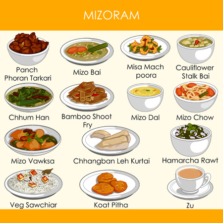 illustration of delicious traditional food of Mizoram India