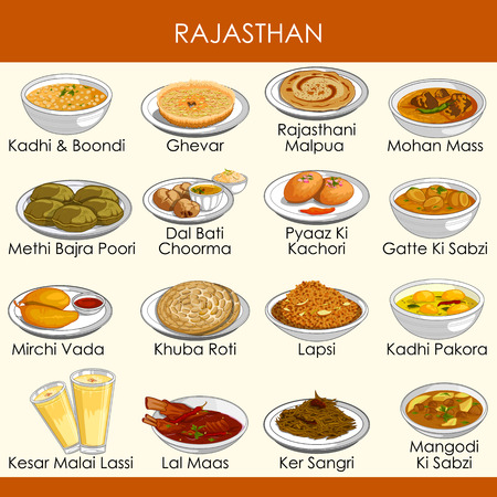 illustration of delicious traditional food of Rajasthan India
