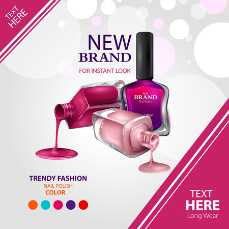 Advertisement promotion banner for trendy colorful Nail Polish fashion Illustration