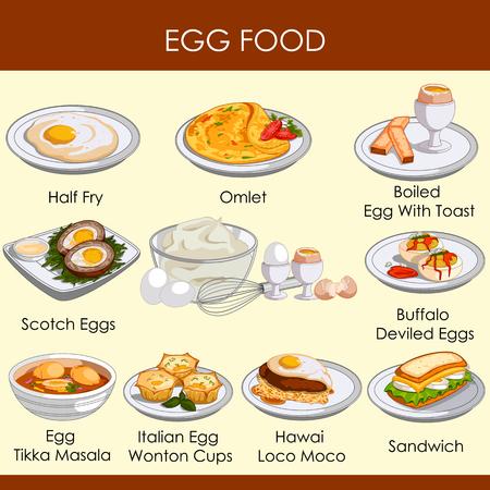 Ilustración vectorial de diferentes variedades de alimentos hechos de huevo