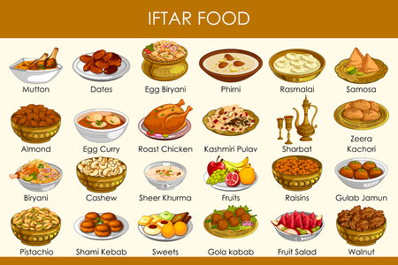 vector illustration of different delicious food for Ramadan Iftar Food