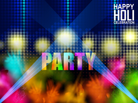 easy to edit vector illustration of Colorful Happy Hoil Party background for festival of colors in India Ilustração