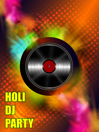 easy to edit vector illustration of Colorful Happy Hoil Party background for festival of colors in India Illustration