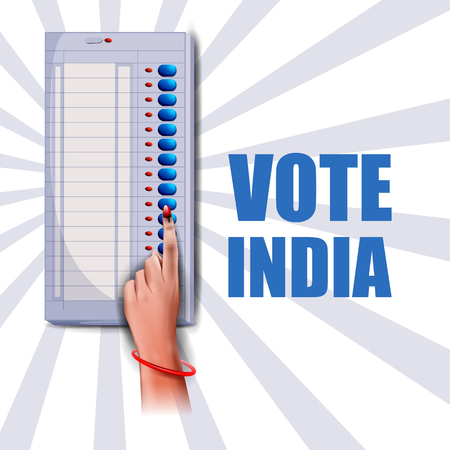 Poster banner show hand of Indian people for election and vote polling campaign of India