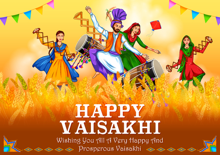 Happy Vaisakhi Punjabi spring harvest festival of Sikh celebration background 写真素材