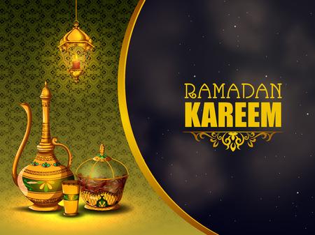 easy to edit vector illustration of Islamic celebration background with text Ramadan Kareem Ilustración de vector