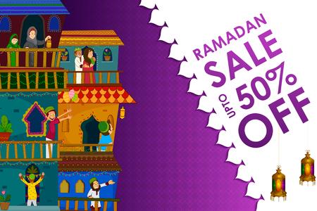 Muslim families wishing Eid Mubarak,Happy Eid on Ramadan festival shopping sale