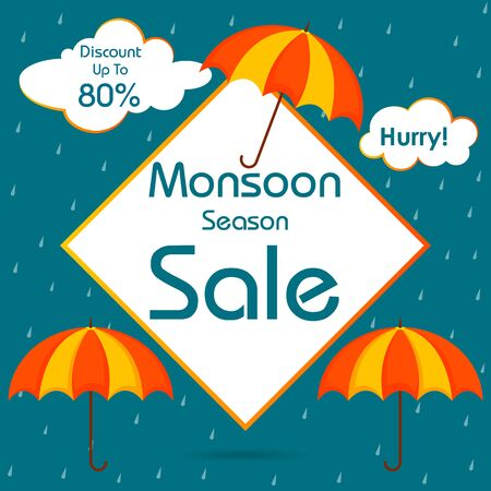 Great monsoon sale and promotion advertisement banner background template