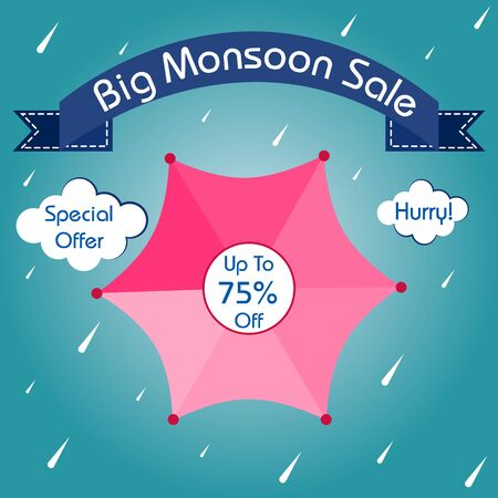 easy to edit vector illustration of great monsoon sale and promotion advertisement banner background template Ilustracja