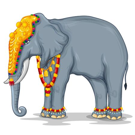 illustration of Decorated Indian elephant used in different festival of India like Onam, Dussehra procession