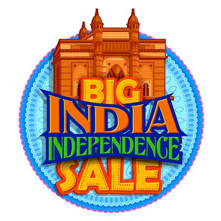 illustration of Famous Indian monument and Landmark for 15th August Happy Independence Day of India Sale Promotion advertisement background Ilustracja