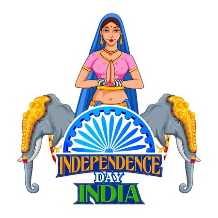 illustration of Lady doing namaste gesture showing welcome on India background for Happy Independence Day of India