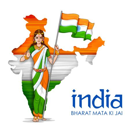 illustration of Mother India on Indian background for Happy Independence Day of India