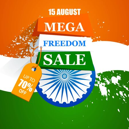 Happy Independence Day of India tricolor background for 15 August Big Freedom sale promotion banner