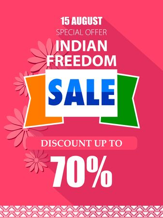 easy to edit vector illustration of Happy Independence Day of India tricolor background for 15 August Big Freedom sale promotion banner Ilustracja