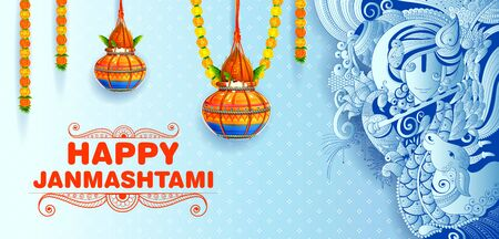 Happy Janmashtami festival background of India