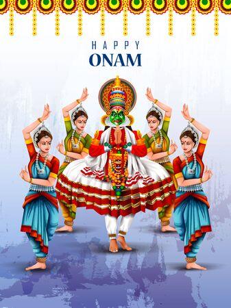 Happy Onam holiday for South India festival background Illustration