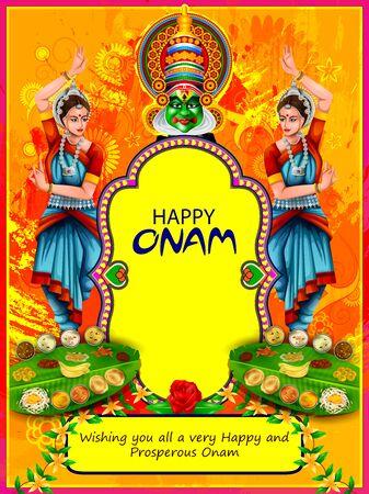 Szczęśliwe wakacje Onam na tle festiwalu w południowych Indiach