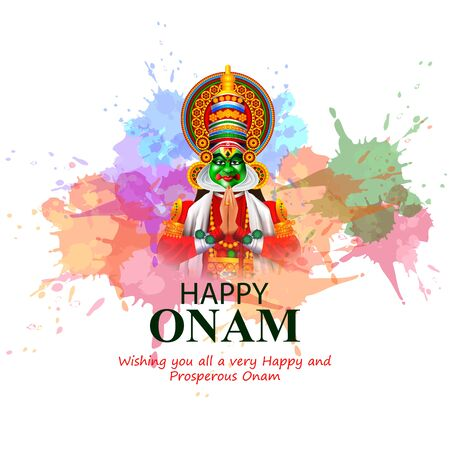 Happy Onam holiday for South India festival background Ilustracja