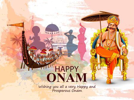fácil de editar ilustración vectorial de las vacaciones de Happy Onam para el fondo del festival del sur de la India Ilustración de vector