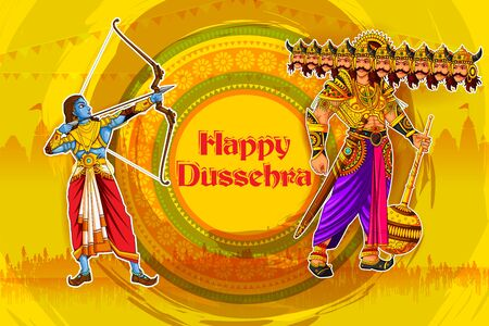 Rama killing Ravana with Happy Dussehra background showing festival of India