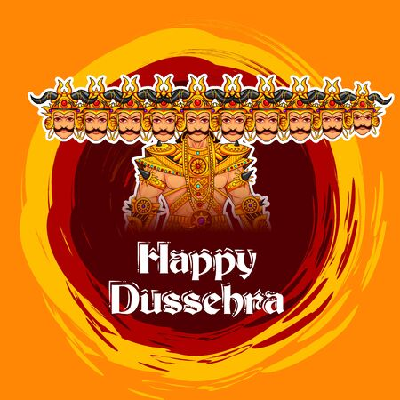 Ravana monster with Happy Dussehra background showing festival of India