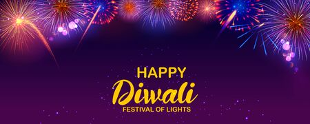illustration of colorful fire cracker on Happy Diwali background for light festival of India