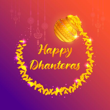 illustration of Gold coin in pot for Dhantera celebration on Happy Diwali light festival of India background