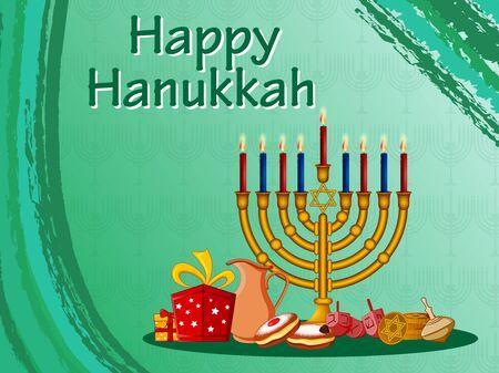 easy to edit vector illustration of Happy Hanukkah for Israel Festival of Lights celebration