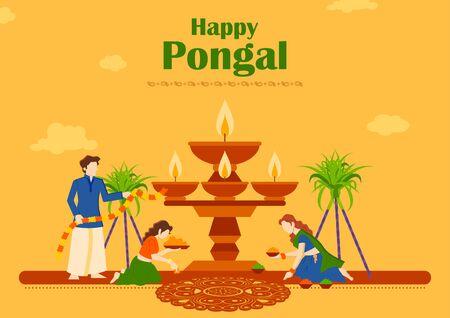 illustration of Happy Pongal Holiday Harvest Festival of Tamil Nadu South India greeting background 일러스트