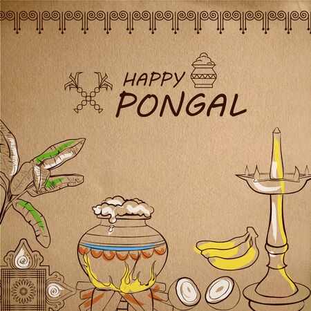 illustration of Happy Pongal Holiday Harvest Festival of Tamil Nadu South India greeting background 스톡 콘텐츠
