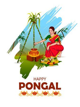 타밀 나두 인도 배경의 해피 퐁갈 축제