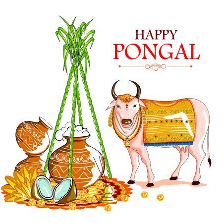 Happy Pongal festival of Tamil Nadu India background