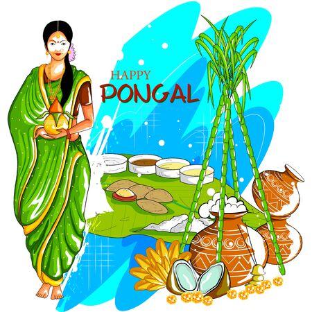 Illustration of Happy Pongal festival of Tamil Nadu India background 일러스트